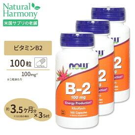 3個セット ビタミンB2 100mg 100粒 NOW Foods(ナウフーズ)