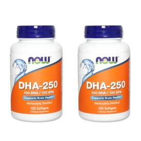 DHA-250 (DHA&EPA配合)120粒 NOW Foods(ナウフーズ) [2個セット]