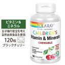 子ども用チュアブル ビタミン&ミネラル ブラックチェリー味 120粒 60回分 Solaray(ソラレー)人気 食べやすい チル…