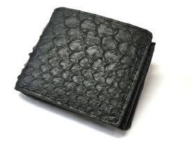 【送料無料】【蛇革】金運 財運 パイソン 二つ折り財布 ブラック