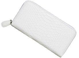 【再入荷】【送料無料】白蛇柄 金運如意 開運 財布 ラウンドファスナー式 長財布