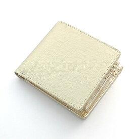 【送料無料】【風水 金運】シャンパンゴールド 牛革 二つ折り財布