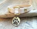 愛犬用 レザー ネームチョーカー ドッグタグ セット(肉球) 迷子札 首輪 犬 ねこ 猫 ハンドメイド レザーチョーカー