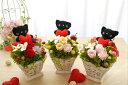 幸せを呼ぶ黒ねこちゃん「ねこちゃんバスケット」 プリザーブドフラワー クリアケース入り 母の日のプレゼント