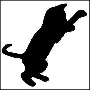 シール 猫 『飛び掛る猫』おしゃれでかわいいシルエットステッカーです。防水仕様なのスノーボードやサーーフボード、車、バイク、ヘルメット、スーツケースなどにもOK!オシャレな傷隠