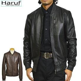 Haruf Leather 本革 レザージャケット メンズ ハルフレザー BENBK MA-1 ミリタリージャケット フライトジャケット ラムレザー 革ジャン 皮ジャン ジャケット ジャンパー ライダースジャケット シンプル ブラック 黒