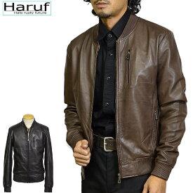 Haruf Leather 本革 レザージャケット メンズ ハルフレザー BENBR MA-1 ミリタリージャケット フライトジャケット ラムレザー 革ジャン 皮ジャン ジャケット ジャンパー ライダースジャケット シンプル ブラウン