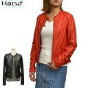 Haruf レザージャケット レディース ノーカラー 本革 ライダースジャケット 革ジャン 皮ジャン レッド 赤 レディースジャケット L3143RED
