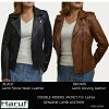 Size liorabr where a lamb leather riders jacket leatherette jacket Lady's double riders leather jacket genuine leather camel brown tea outer in the fall and winter is big