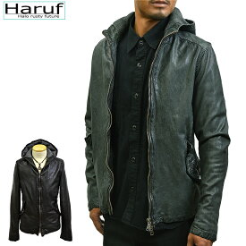 Haruf Leather 本革 レザージャケット メンズ ハルフレザー M3466GRY ラムレザー 革ジャン 皮ジャン パーカー フード ジャケット ジャンパー ライダースジャケット シンプル グレー