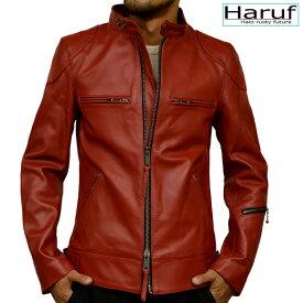 Haruf ライダースジャケット シングルライダース レザージャケット 革ジャン メンズ 本革 シングル スタンドカラー ライダース 皮ジャケット 皮ジャン 赤 レッド 大きいサイズ uk3prd
