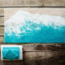 ラグマット 綿100% / MALIBU 約100×200cm アビス&ハビデコール / ABYSS HABIDECOR 高級感 ブランド ラグ ミニラグ 洗える ウォッシャブル おしゃれ モダン オールシーズン コットン 綿 柄 風水 ミニ 小さい 小さめ 厚手 ブルー ハワイ 海 100 200