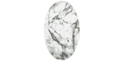 [国内正規品]ラグマットCARARE約51×80cmラメ糸/ABYSS&HABIDECOR(アビスアンドハビデコール)[リビング玄関ラグインテリアおしゃれブランドモダンスタイリッシュ円形丸変形綿コットン天然素材洗えるギフト贈り物大理石白]