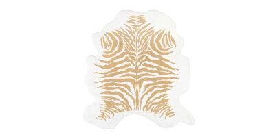 [国内正規品]ラグマットKENYA約130×140cm綿100%/ABYSS&HABIDECOR(アビスアンドハビデコール)[リビング玄関ラグインテリアおしゃれブランドモダンスタイリッシュ円形丸変形綿コットン天然素材洗えるギフト贈り物虎柄トラ柄毛皮]