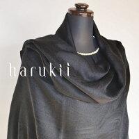 harukii/シルクカシミヤ大柄ペイズリージャカードストールブラック