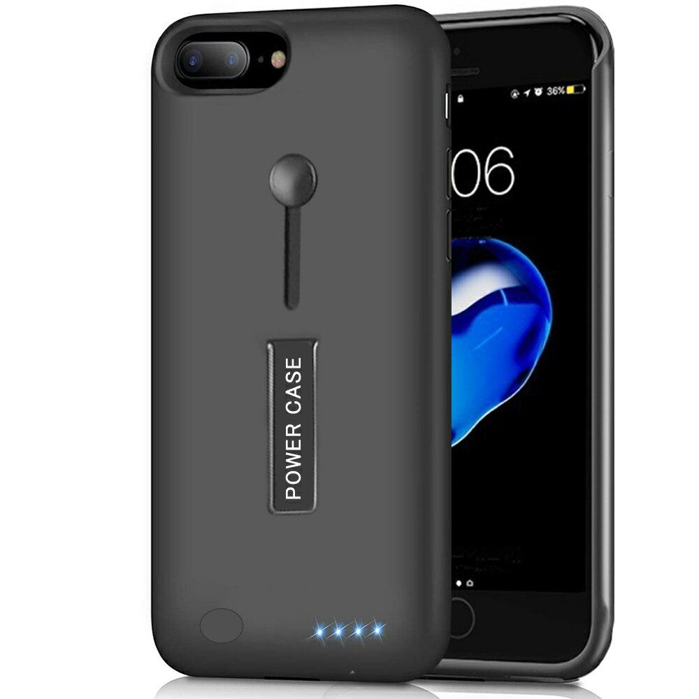【最新版】 iPhone 6Plus / 6SPlus / 7Plus / 8Plus 兼用 バッテリー内蔵ケース 5000mAh〜8500mAh 充電ケース リング付き スタンド機能 ケース型バッテリー アイフォン バッテリーケース 大容量 150%バッテリー容量追加- 5.5インチ用 ブラック