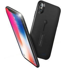 【最新版】iPhone X バッテリーケース 5200mAh 大容量 急速充電 battery case 軽量 薄型 スタンド機能 ケース型バッテリー 耐衝撃 モバイルバッテリー iPhone XSケース リング付き アイフォンカバー