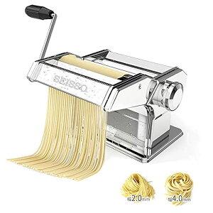 水洗えるパスタマシン 製麺機 家庭用 そば打ち機 ヌードルメーカー 高品質ステンレス製 手動 分離式 耐久性 うどん 餃子など 2種類カ