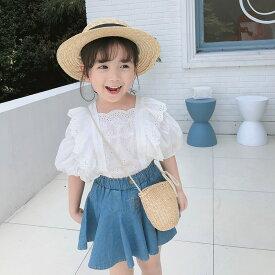 子供服 2点セット綿トップス+ デニムスカート姫系半袖 春夏女の子 カさん ひざ丈 セットアップ 子ども服 キッズ 人気 可愛い通学お呼ばれかわいい
