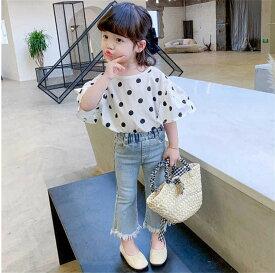 セットアップ 女の子 夏服 Tシャツ+ジーンズ Tシャツ オシャレ 子ども服 キッズ 上下セット 100-150cm