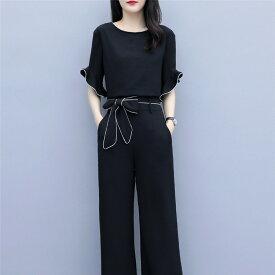 セットアップ レディース 上下セット ズボン 夏 ブラウス tシャツ 半袖 カジュアル 大きいサイズ 韓国風 30代 40代