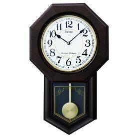 SEIKO CLOCK (セイコー クロック) 木枠スタンダード掛時計/掛け時計「八角尾長」(濃茶) RQ325B