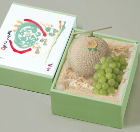 【マスカット1房・メロン1玉】詰合せ/旬の果物/高級フルーツ/お中元/贈り物/ギフト/化粧箱入