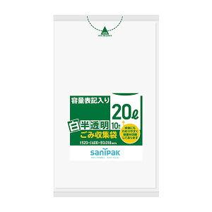 【1冊:65.6円】 ポリ袋 白半透明ごみ袋 20L 0.018mm 10枚×60冊=600枚白半透明色 HT21 ゴミ袋/業務用/ケース