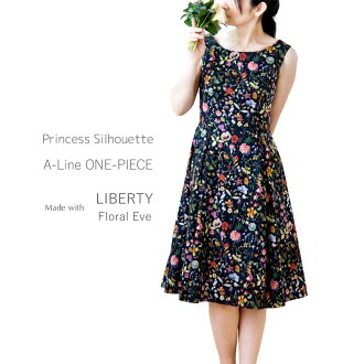 Wonderful feeling [domestically] to keep Princess silhouette A-line dress eyes made with liberty floral Eve (black system) as