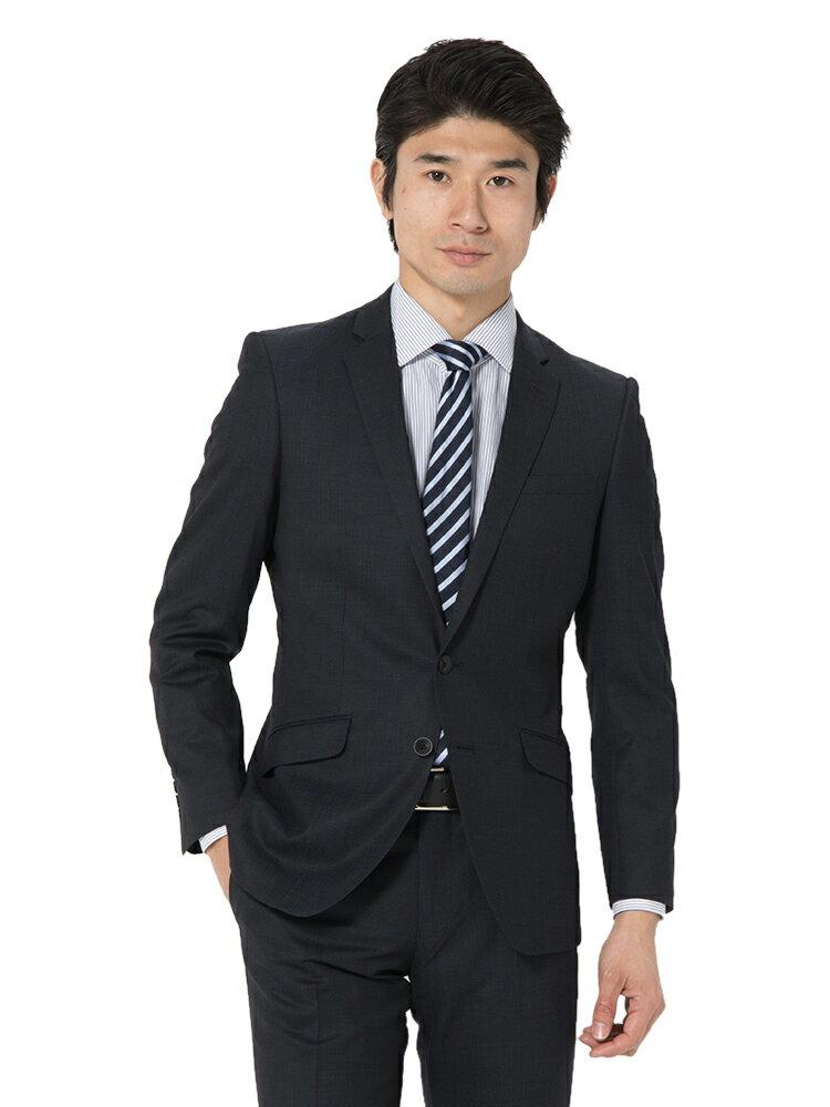 スーツ メンズ 背広 メンズスーツ 2つボタン 2ピース ノータック ブランド チェック ネービー 春夏 ウール混 スリム TETE by TETE HOMME テットオム メンズファッション スーツのはるやま