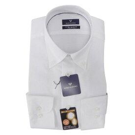 【10%OFF】Yシャツ/長袖/ボタンダウン/ホワイト/織柄無地/ゆったり/MARIO VALENTINO/形態安定/ブランドシャツ/