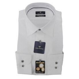 【10%OFF】Yシャツ/長袖/ワイド/ホワイト/織柄無地/ゆったり/MARIO VALENTINO/形態安定/ブランドシャツ/