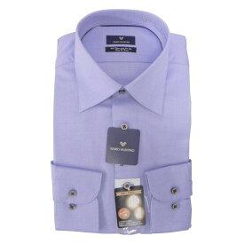 【10%OFF】Yシャツ/長袖/ワイド/ブルー/織柄無地/ゆったり/MARIO VALENTINO/形態安定/ブランドシャツ/