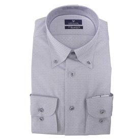【10%OFF】Yシャツ/長袖/ボタンダウン/グレー/織柄無地/ゆったり/MARIO VALENTINO/形態安定/ブランドシャツ/