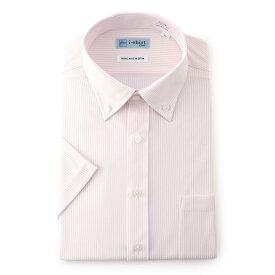 ワイシャツ 半袖 ボタンダウン ピンク アイシャツ 完全ノーアイロン 形態安定 ストレッチ ニットシャツ 防しわ 吸汗速乾 防汚性 ビジネス 小林製薬共同開発 メンズ スーツのはるやま yシャツ