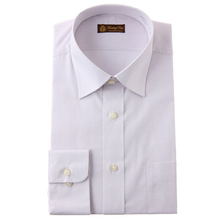 HuntleighClub長袖ワイドカラーワイシャツ/白場ストライプ/L.ピンク