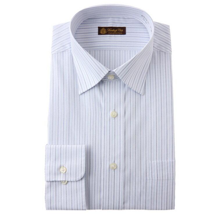 HuntleighClub長袖ワイドカラーワイシャツ/白場ストライプ/サックス