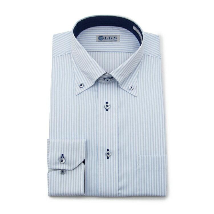 I.B.Sボタンダウンワイシャツ/ストライプ/ネービー