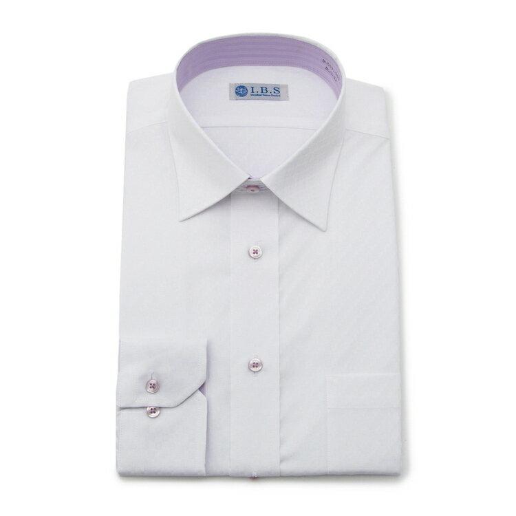 I.B.Sワイドカラーワイシャツ/無地/ホワイト