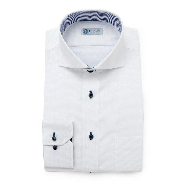 I.B.Sワイドカラーワイシャツ(ルームドライ)/その他/ホワイト