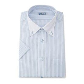 ワイシャツ メンズ Yシャツ カッターシャツ 半袖 形態安定 ストライプ ブルー 春夏 COOLBIZ 綿混 スタンダード ボタンダウン スタンダード I.B.S アイビーエス メンズファッション スーツのはるやま