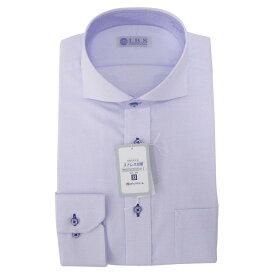 Yシャツ/長袖/ホリゾンタル/ブルー/織柄無地/スタンダード/I.B.S/形態安定/消臭/抗菌/