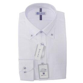 Yシャツ/長袖/ボタンダウン/ホワイト/織柄無地/スタンダード/I.B.S/形態安定/消臭/抗菌/