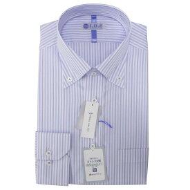Yシャツ/長袖/ボタンダウン/ネービー/デザイン/スタンダード/I.B.S/形態安定/消臭/抗菌/