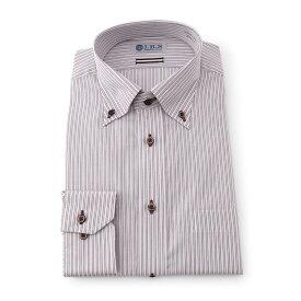 Yシャツ/長袖/ボタンダウン/ブラウン/デザイン/スタンダード/I.B.S/形態安定/消臭/抗菌/