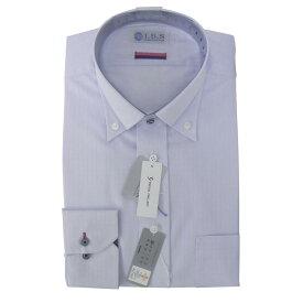 Yシャツ/長袖/ボタンダウン/ブルー/デザイン/スタンダード/I.B.S/形態安定/消臭/抗菌/