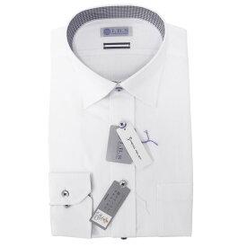 Yシャツ/長袖/セミワイド/ホワイト/織柄無地/スタンダード/I.B.S/形態安定/消臭/抗菌/