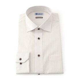 Yシャツ/長袖/ワイド/ホワイト/織柄無地/スタンダード/I.B.S/形態安定/消臭/ストレッチ/抗菌/