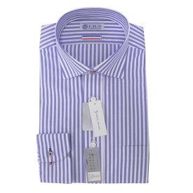 Yシャツ/長袖/ワイド/ブルー/デザイン/スタンダード/I.B.S/形態安定/消臭/抗菌/