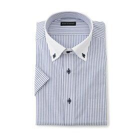 ワイシャツ メンズ Yシャツ カッターシャツ 半袖 形態安定 ストライプ ネイビー 春夏 COOLBIZ ポリエステル クレリック 特価 メンズファッション スーツのはるやま